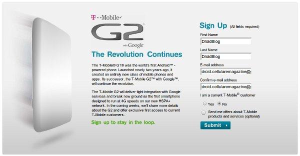T-Mobile G2 In vista.
