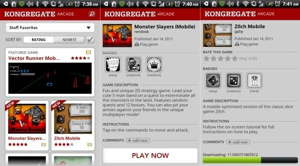 Kongregate Arcade, più di 300 giochi Flash per Android [AGGIORNATO #2: Fa il suo ritorno nel Market]