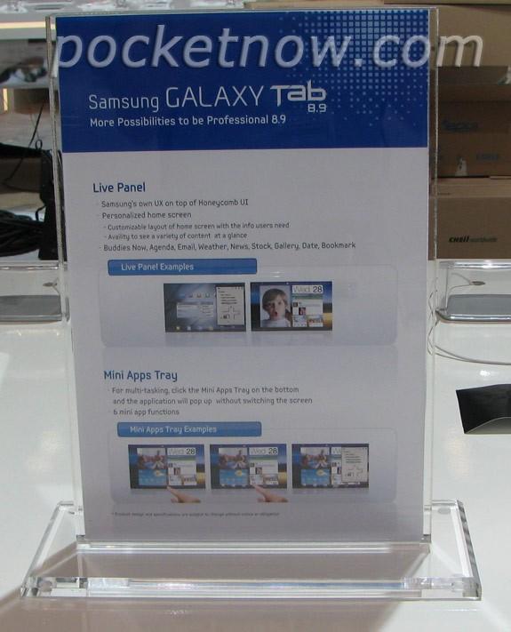 Samsung Galaxy Tab 8.9, rivelati alcuni dettagli (foto)