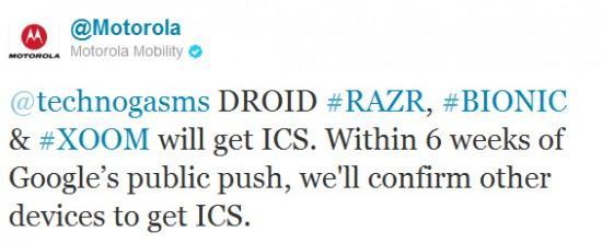 Motorola promette : Ice Cream Sandwich su Droid Razr, Bionic e XOOM