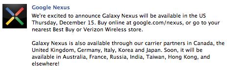 Galaxy Nexus, ora disponibile anche negli USA