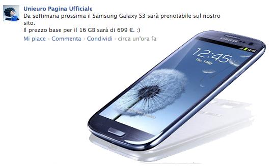 Samsung Galaxy S III, 699€ per la versione da 16GB in Italia