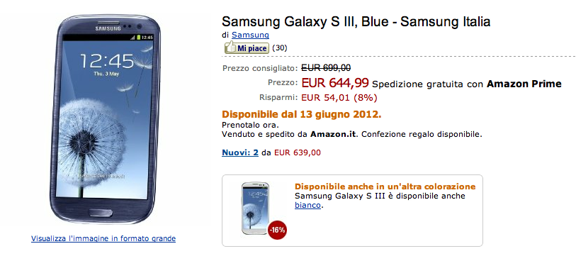 Galaxy S III Pebble Blue dal 13 Giugno su Amazon.it a 644,99€
