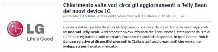 LG Italia chiarisce le voci sugli aggiornamenti a Jelly Bean