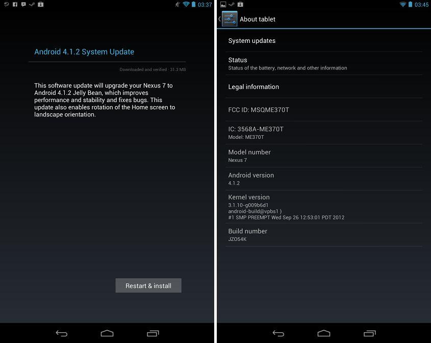 Aggiornare manualmente il Nexus 7 ad Android Jelly Bean 4.1.2