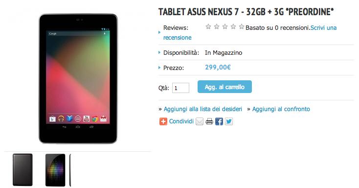 Nexus 7 32GB 3G: inziati i preordini sull'Asus Store