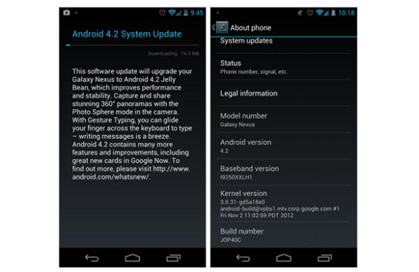 Android Jelly Bean 4.2: iniziato il roll out per Galaxy Nexus