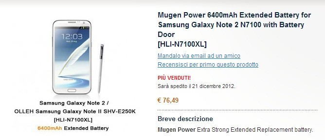 Samsung Galaxy Note II: arriva la batteria da 6400 mAh di Mugen Power