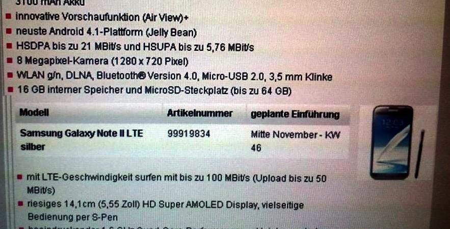 Samsung Galaxy Note 2 LTE: prima fermata Germania.