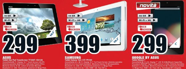 Nexus 7 3G in vendita dal 29 Novembre da MediaWorld