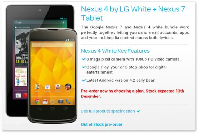 Nexus 4: ulteriori conferme sulla versione bianca che arriverà il 13 Dicembre