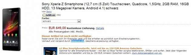 Sony Xperia Z in pre-ordine su Amazon.de (Germania) a 649€