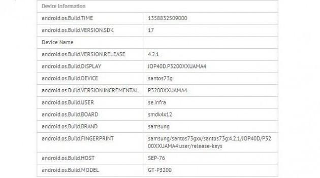 Samsung Galaxy Tab 3 7.0 (GT-P3200) appare su GLBenchmark
