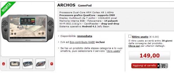 Archos Gamepad in vendita anche da MediaWorld a 149€