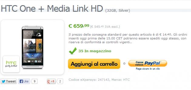 HTC One disponibile a 659 euro su Exspansys con Media Link HD in regalo