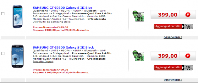 Samsung Galaxy S III disponibile a 399€ da Media World