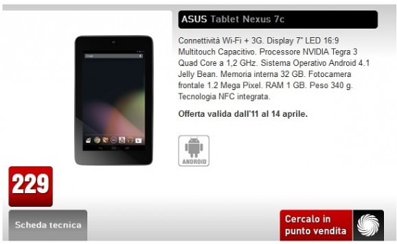 [UPDATE] Nexus 7 Wi-Fi + 3G disponibile a 229€ da MediaWorld fino al 14 Aprile