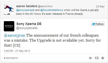 Xperia S: Sony Germania afferma che il roll-out di Android 4.1.2 Jelly Bean non è ancora iniziato
