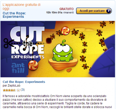 L'Amazon App-Shop arriva sul Web anche in Italia: oggi in regalo Cut The Rope: Experiments