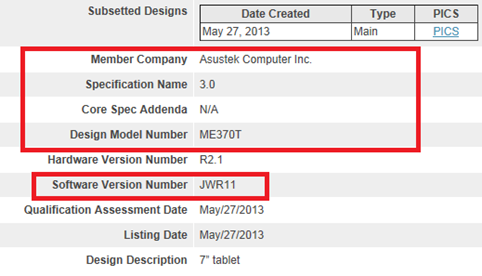Asus Nexus 7 con Android 4.3 riceve la certificazione Bluetooth