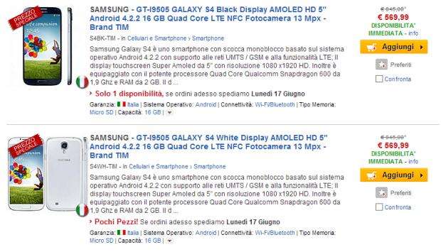 Samsung Galaxy S4 e molti altri smartphone Android in offerta su ePrice