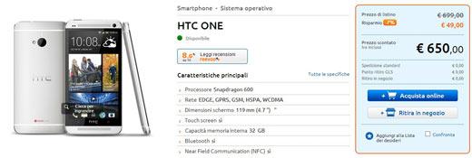 HTC One disponibile a 650 euro da MarcoPolo con Garanzia Italia