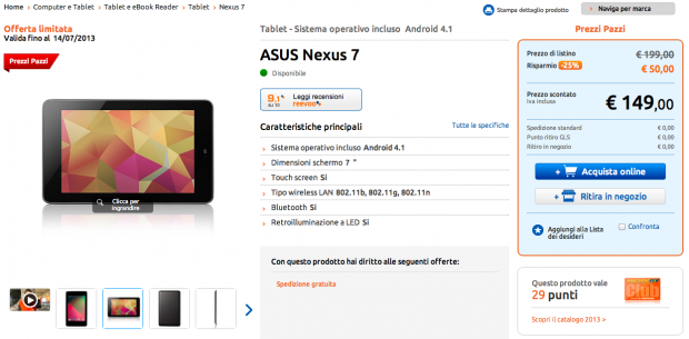 Asus Nexus 7 in offerta a 14