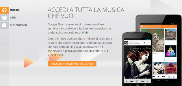 Google Play Music All Access è disponibile in Italia!