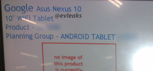 Asus Nexus 10 2013: nuove conferme da @evleaks