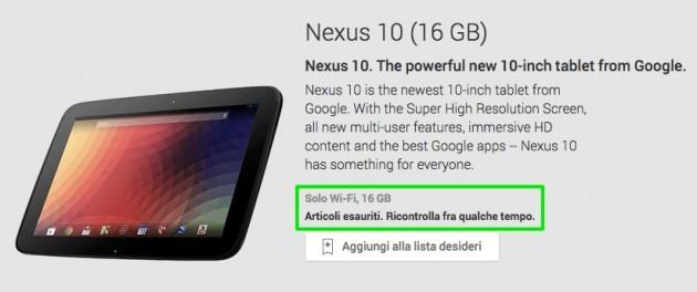 Nexus 10 16GB esaurito