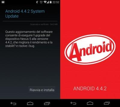 Android 4.4.2 disponibile per Nexus 5 e Nexus 4 [Update: OTA anche per Nexus 7 e Nexus 10]