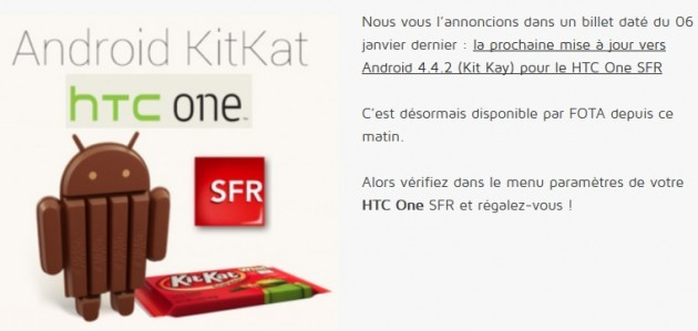 HTC One riceve Android 4.4.2 KitKat in Francia