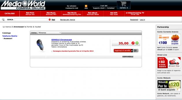 Chromecast disponibile a 35€ da Mediaworld