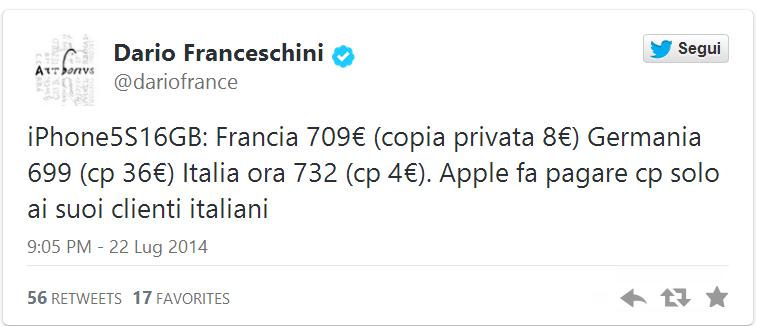 Il ministro FranceschiniApple