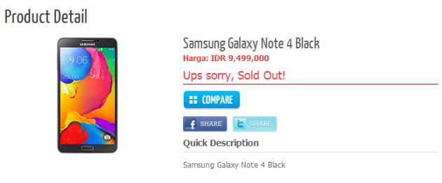 Samsung Galaxy Note 4 appare su store indonesiano
