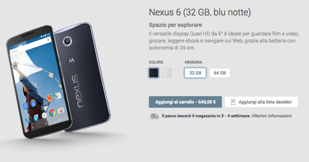 Motorola Nexus 6 disponibile sul Google Play Store